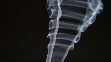Zeitlupe: Rauchkurven auf schwarzem Hintergrund video