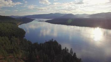 Magnificent Lighting for Lake Roosevelt Aerial with Scattered Clouds