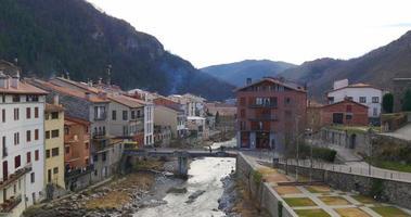 mountain old town river camprodon 4k spain video