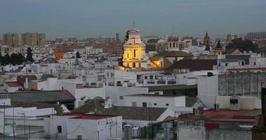 seville city panorama church light 4k spain