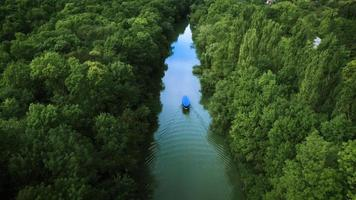 Aerial view of the river and boat, video