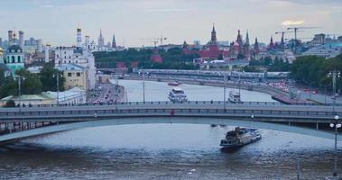 RUSSIA. MOSCOW - 2013: 4K TL Top view of the Moskva River embankment.