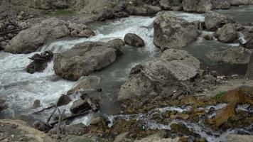 Gebirgsfluss fließt zwischen Felsen in den Bergen des Kaukasus