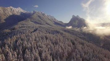 Hazy Winter Aerial of Gunn Peak and Baring Mountain in Washington State video