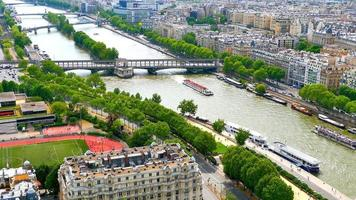 Seine River in Paris, City Aerial View from Eiffel Tower, France video