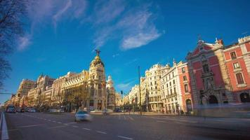 madrid sun light panorama of metropolis building city aerial 4k time lapse spain