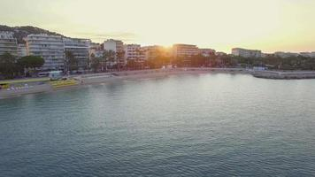 France, Cannes, Aerial view over the croisette at sunrise video