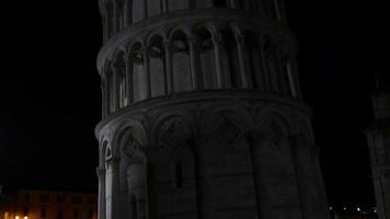 italy pisa night illumination famous tower down to up view 4k video