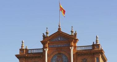 siviglia plaza de espana bandiera principale 4k spagna video
