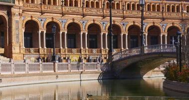 siviglia sole luce plaza de espana ponte muro 4k spagna video