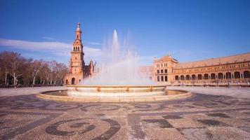 Sevilla sonniger Tag Palast von Spanien Brunnen Regenbogen 4k Zeitraffer Spanien