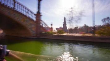 Siviglia famosa placa de espana barca equitazione 4k lasso di tempo spagna video