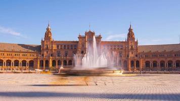 Sonnenlicht Sevilla Palast von Spanien Brunnen touristischer Ausritt 4k Zeitraffer Spanien