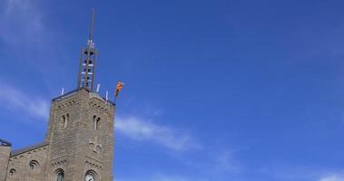 Vall de Nuria Berg Resort Top mit einer Flagge 4k