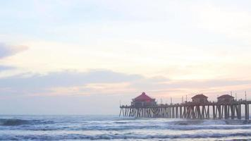Timelapse with Beach sunset at Huntington Beach Pier, California video