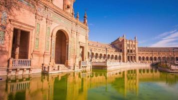 Sevilla sonniger Tag Palast von Spanien Front und Teich Panorama 4k Zeitraffer Spanien