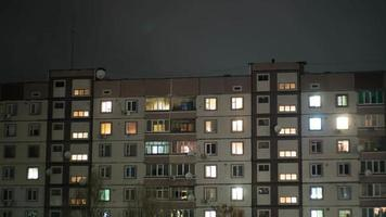 Multistorey Building With Changing Window Lighting At Night video