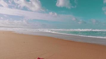 ondas do mar chegando na praia de areia video