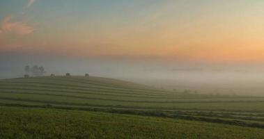 lapso de tempo de névoa espessa fluindo sobre o campo recém-cortado