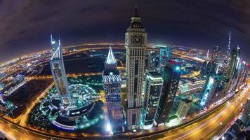 dubai downtown night light main road roof top panorama 4k time lapse united arab emirates