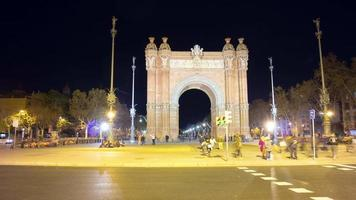 barcelona night light arc de triomf walking place 4k time lapse espanha