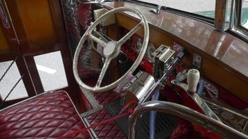 Interior design drivers seat of a Key model of the 1940´s Argentinian Urban Bus public transportation video