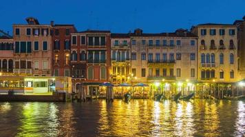 italy night illumination venice city famous grand canal bay traffic panorama 4k time lapse video