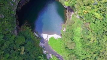 Aerial shot of Unoko Gorge and great valley in Japan video