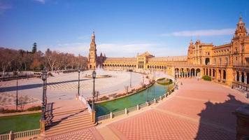 Sonnenlicht Sevilla berühmten Palast Platz Placa de Espana 4k Zeitraffer Spanien