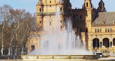 seville sonnenlicht plaza de espana brunnen hautnah 4k spanien