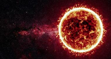 superfície solar e animação de explosões solares