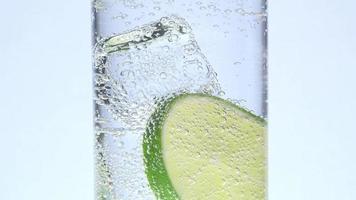 vaso, hielo, limón y tónica