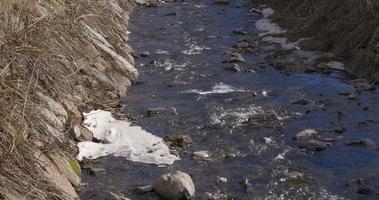 rivière de montagne enneigée 4k video