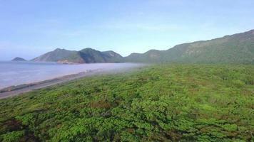 Flugreisen entlang der Küste eines Strandes außerhalb der Stadt video
