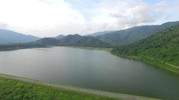 Aerial view of Huai Preu reservoir in nakhon Nayok, Thailand video