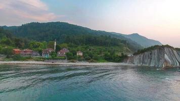 Aerial view of Black sea village in Kastamonu video