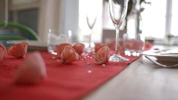 Slow Motion Shot Of Table Setting For Valentines Day Meal video
