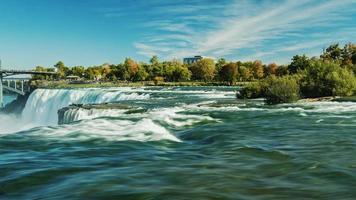 giperlaps panorâmicas niagara falls. claro dia de outono, atirando com o lado americano. a câmera faz uma panorâmica ao longo do fluxo da cachoeira