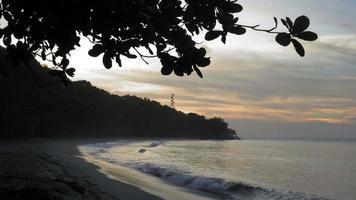 vista panorâmica de uma praia exótica ao anoitecer, trinidad, trinidad e tobago video