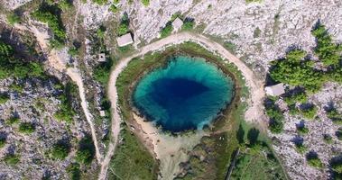 vista aérea do incrível manancial glavas do rio cetina video