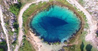 vista aérea do incrível manancial glavas do rio cetina