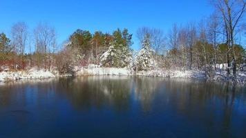 dünnes Eis auf einem zugefrorenen, malerischen See mit schneebedeckten Bäumen