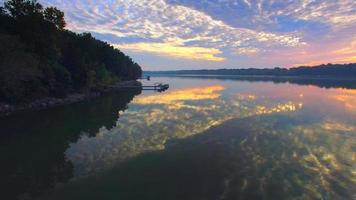 Amazing Dawn Sky Reflected in Mirror Smooth River, Aerial Flyover video