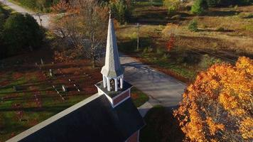 Beautiful little rural church and cemetery amid Autumn colors video