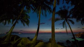 Thailandia phuket tramonto palm beach panorama 4K lasso di tempo video
