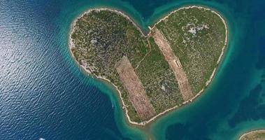 Aerial view of Galesnjak Island, Island of Love, Croatia