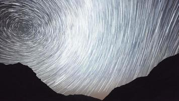 4K Star Trails Night Sky Cosmos Galaxy Time-lapse over plateau on Kackar Mountains, Turkey.