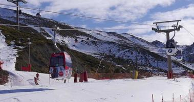 day light mountain resort ski lift close up 4k serra nevada espanha video