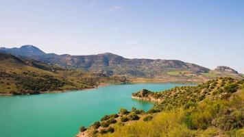 Sonnenlicht Spanien Bergsee Panorama 4k Zeitraffer Spanien