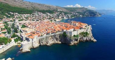 Aerial view of historic walled city of Dubrovnik